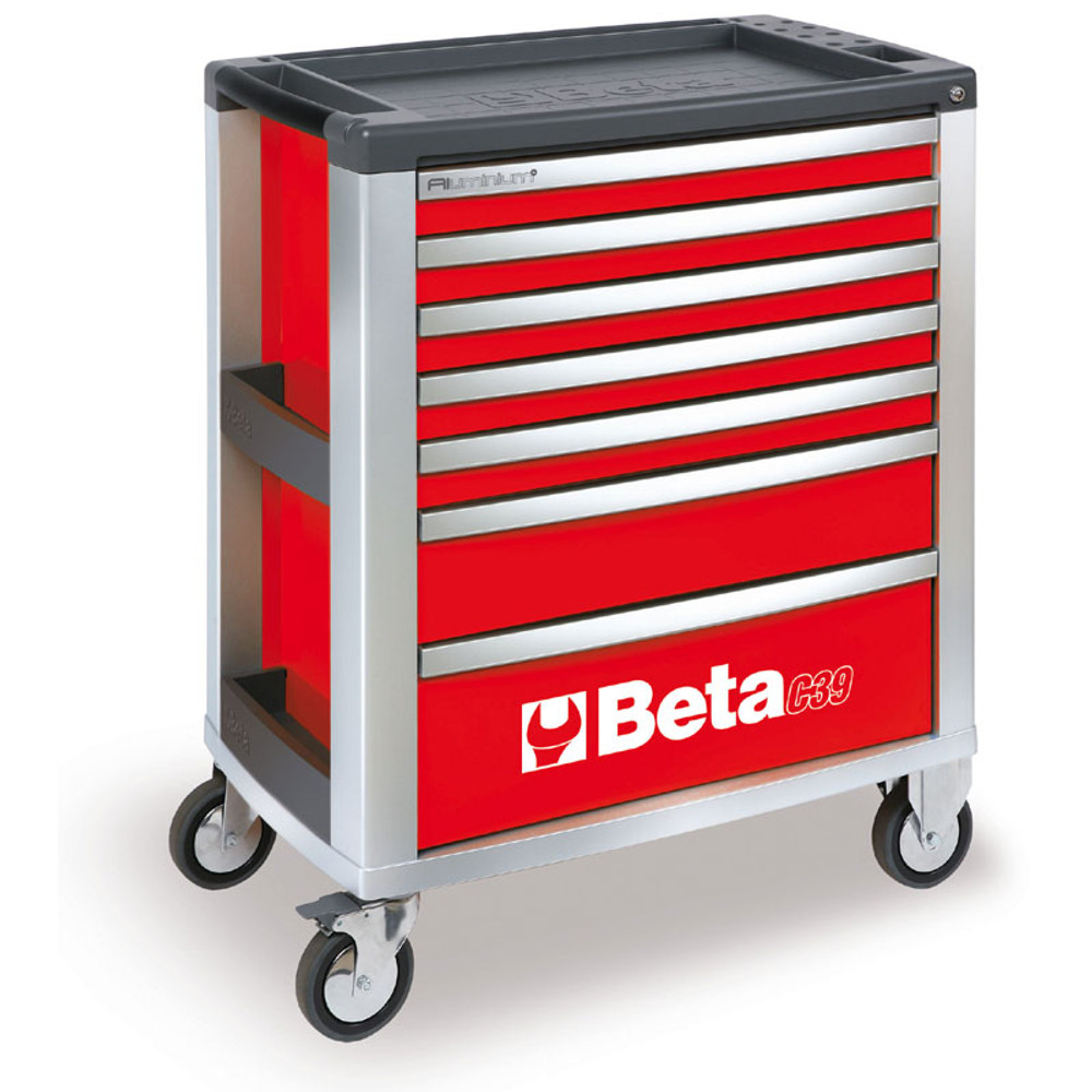 Beta Tools C39-7/R Mobile Roller Cabinet with 7 Drawers - Red