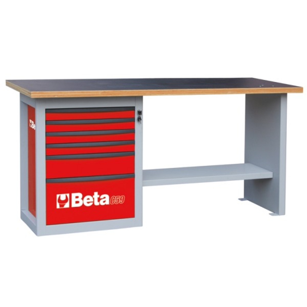 Beta Tools C59A-R Endurance Workbench with Six Drawer Cabinet - Red