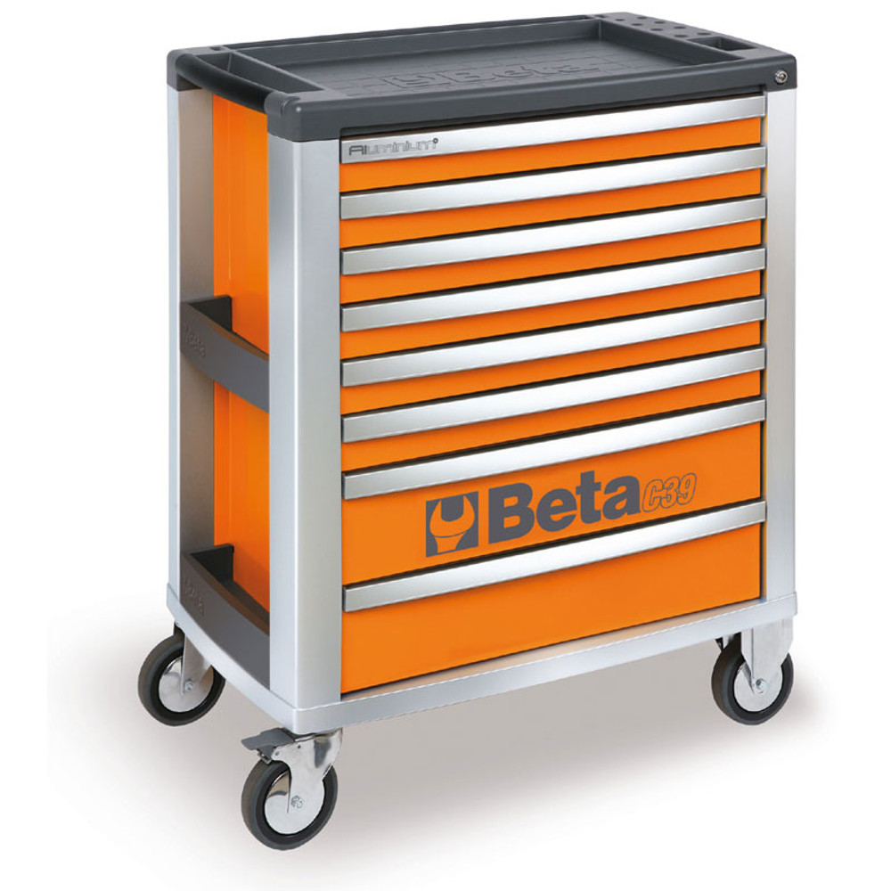 Beta Tools C39-8/O Mobile Roller Cabinet with 8 Drawers - Orange
