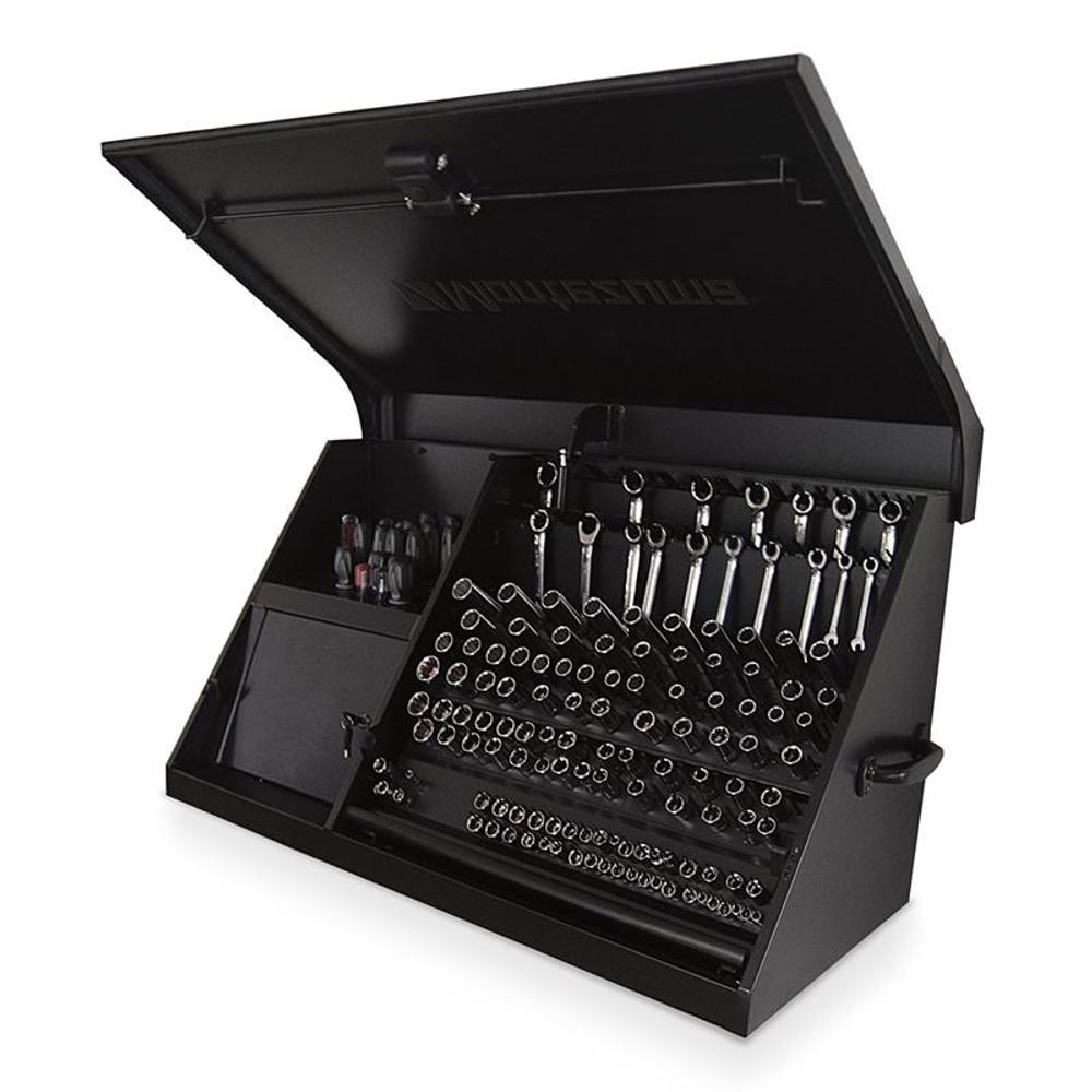 """Montezuma 41"""" x 18"""" Steel Triangle Toolbox - Flat Black"""