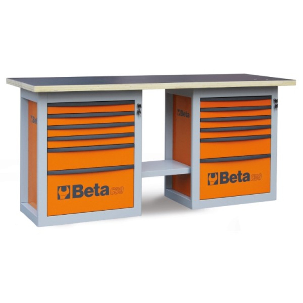 Beta Tools C59B-O Endurance Workbench with (2) Six Drawer Cabinets - Orange