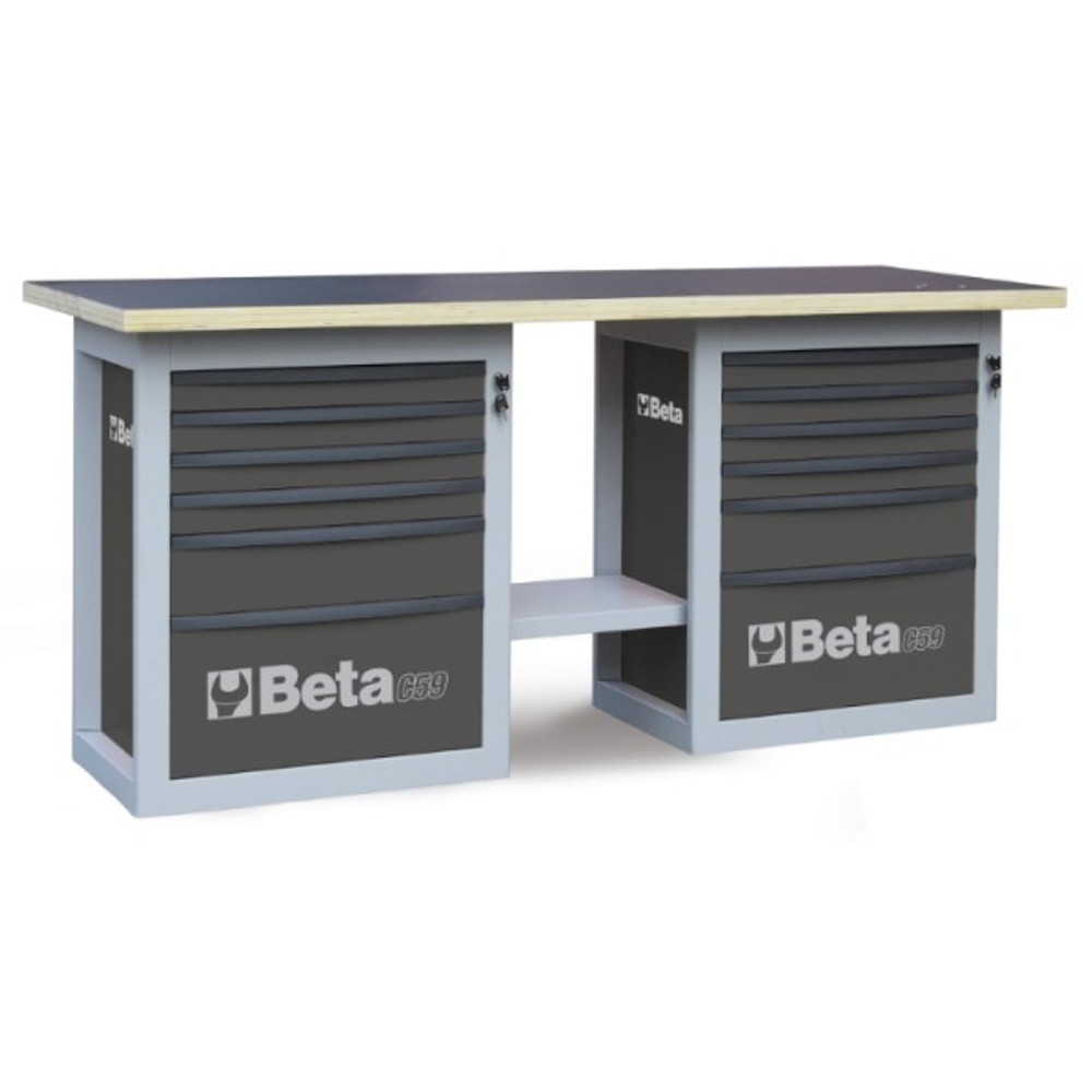 Beta Tools C59B-G Endurance Workbench with (2) Six Drawer Cabinets - Grey