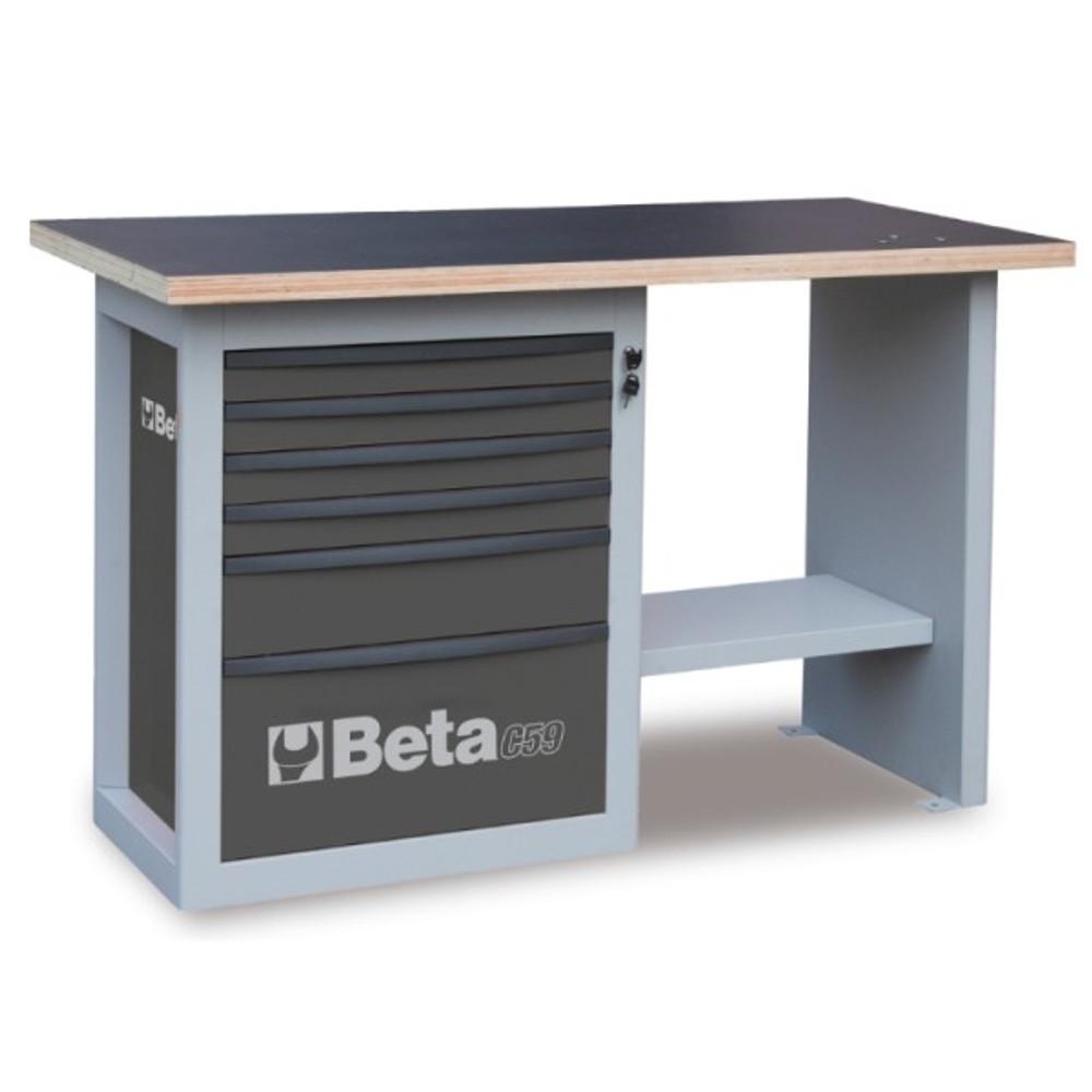 Beta Tools C59C-G Endurance Workbench with Six Drawer Cabinet (Short Model) - Grey