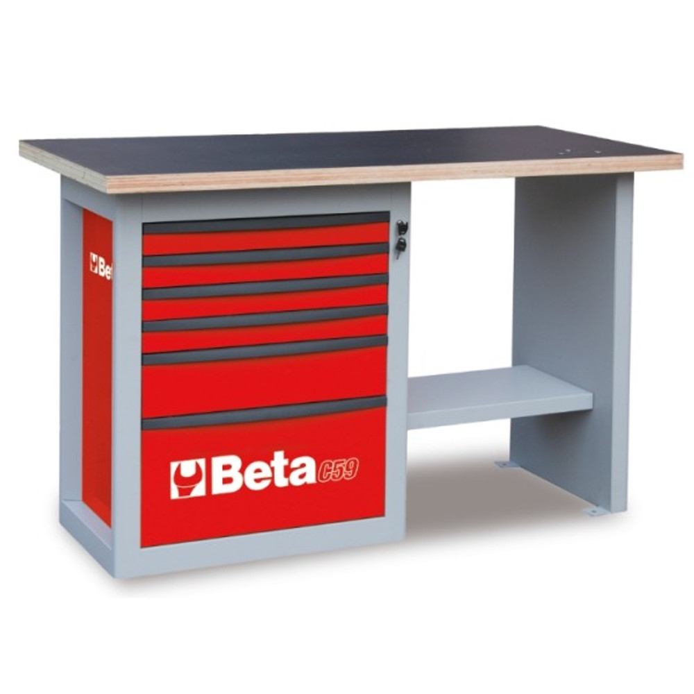 Beta Tools C59C-R Endurance Workbench with Six Drawer Cabinet (Short Model) - Red