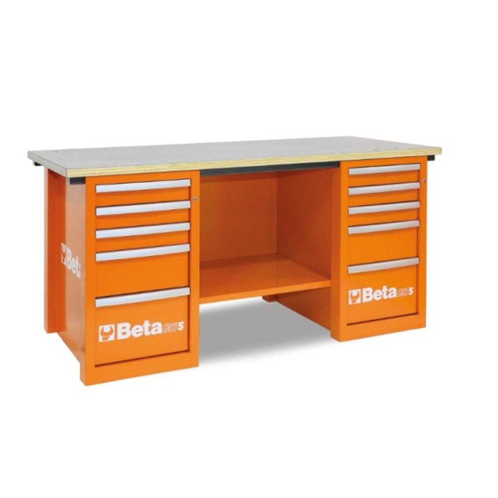 Beta Tools C57SC-O MasterCargo Workbench with (2) 5 Drawer Cabinets - Orange