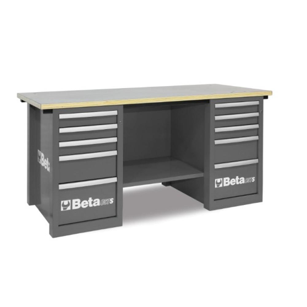Beta Tools C57SC-G MasterCargo Workbench with (2) 5 Drawer Cabinets - Grey