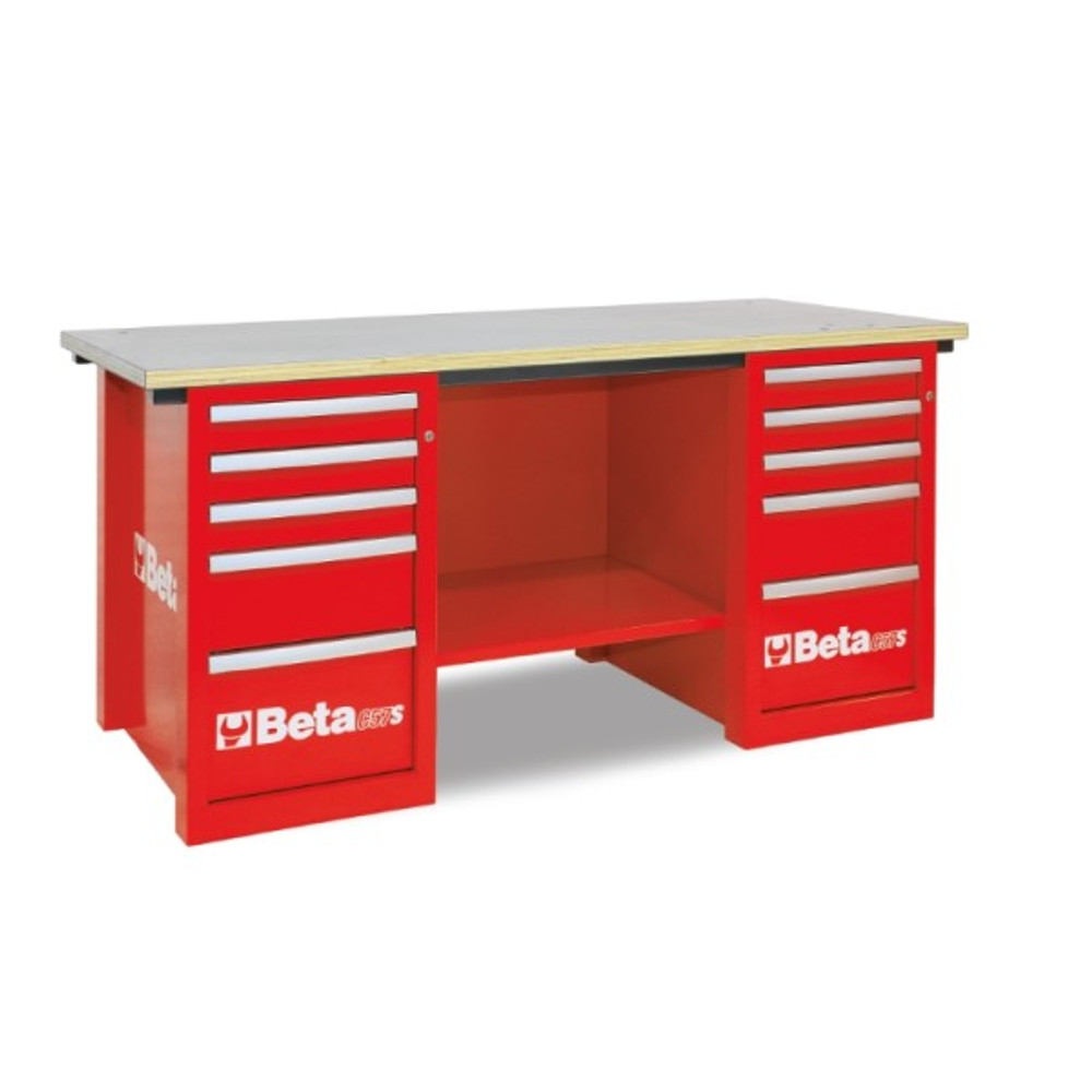Beta Tools C57SC-R MasterCargo Workbench with (2) 5 Drawer Cabinets - Red