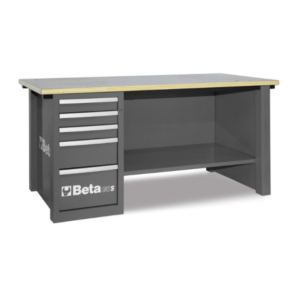 Beta Tools C57SD-G MasterCargo Workbench with 5 Drawer Cabinet - Grey