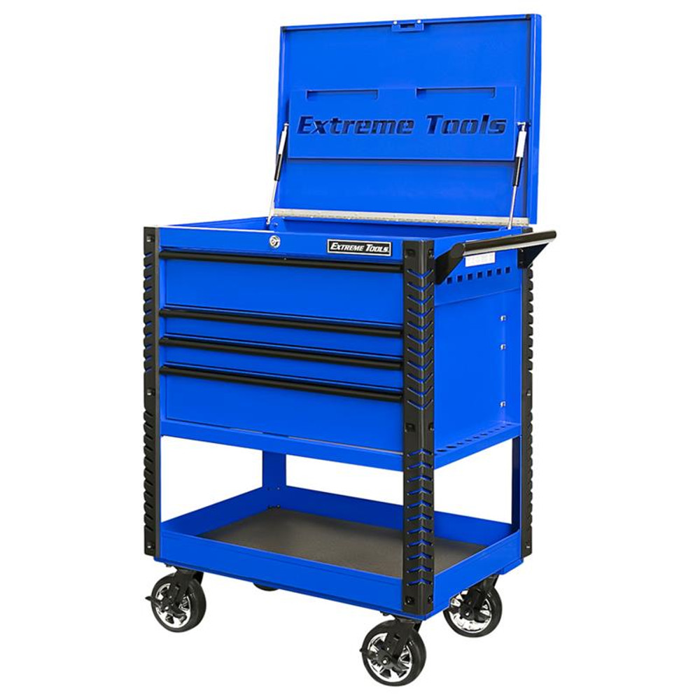 """Extreme Tools EX Series 33"""" 4-Drawer Deluxe Series Tool Cart - Blue w/Black Drawer Pulls"""