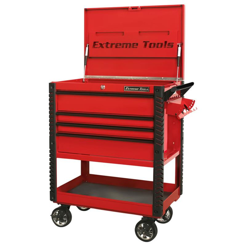 """Extreme Tools EX Series 33"""" 4-Drawer Deluxe Series Tool Cart - Red w/Black Drawer Pulls"""