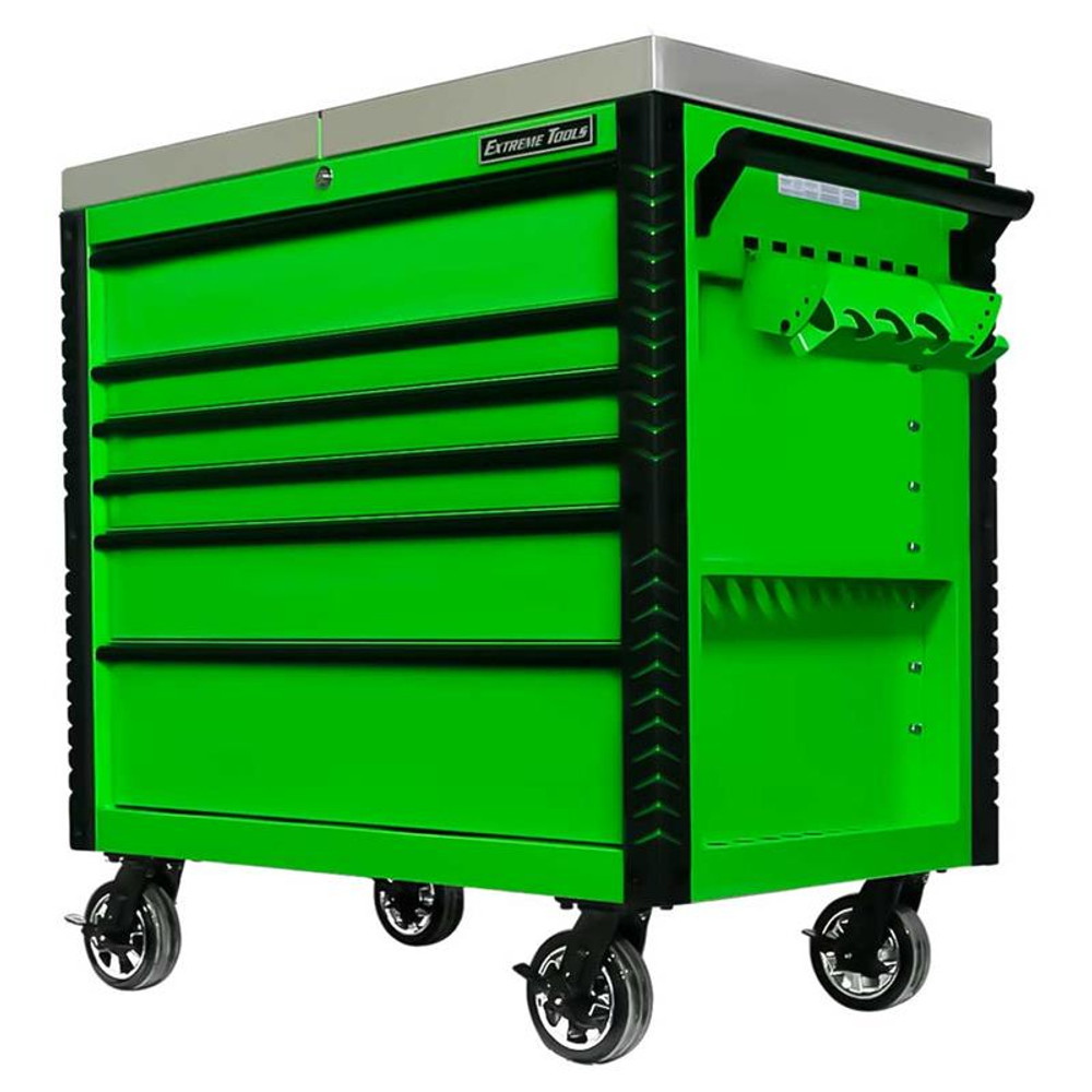 "Extreme Tools EX Series 41"" 6-Drawer Deluxe Slider Top Tool Cart - Green w/Black Drawer Pulls"