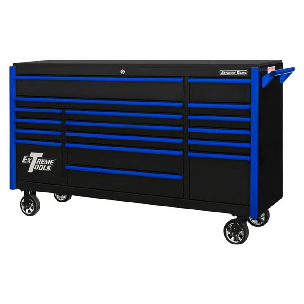 "Extreme Tools 72"" DX Series 17-Drawer 21"" Deep Roller Cabinet - Black w/Blue Drawer Pulls"