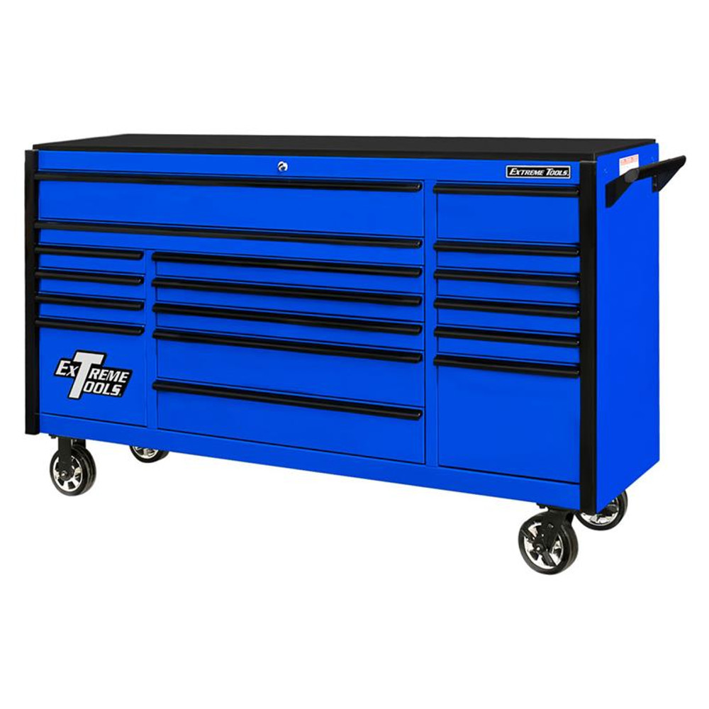 "Extreme Tools 72"" DX Series 17-Drawer 21"" Deep Roller Cabinet - Blue w/Black Drawer Pulls"