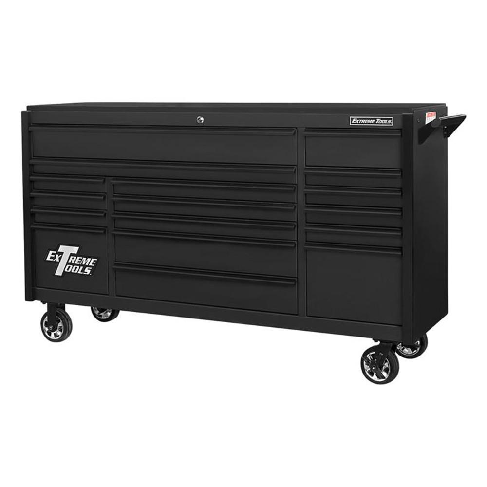 "Extreme Tools 72"" DX Series 17-Drawer 21"" Deep Roller Cabinet - Matte Black w/Black Drawer Pulls"