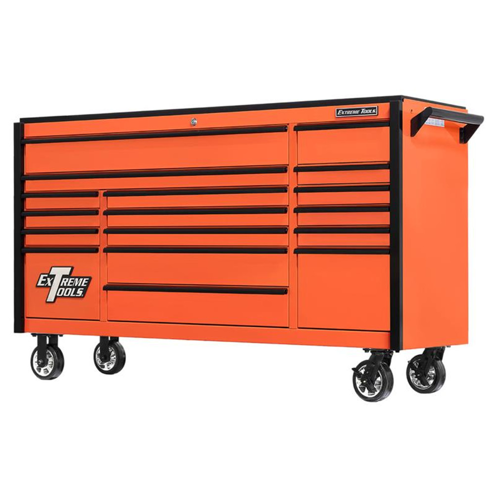 "Extreme Tools 72"" DX Series 17-Drawer 21"" Deep Roller Cabinet - Orange w/Black Drawer Pulls"