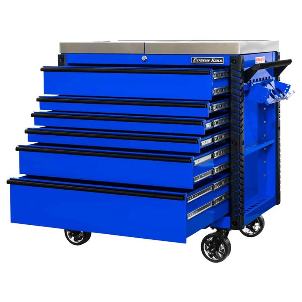 """Extreme Tools EX Series 41"""" 6-Drawer Deluxe Slider Top Tool Cart - Blue w/Black Drawer Pulls"""