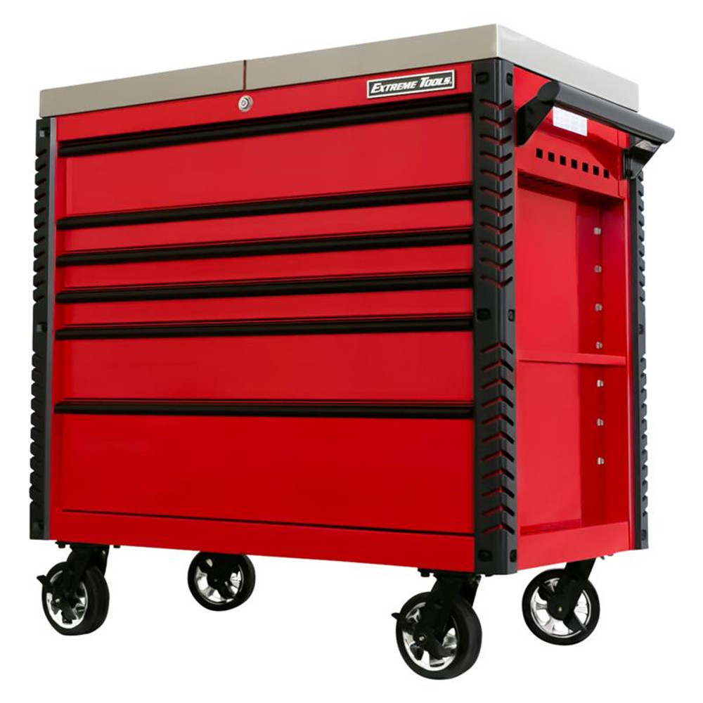 """Extreme Tools EX Series 41"""" 6-Drawer Deluxe Slider Top Tool Cart - Red w/Black Drawer Pulls"""