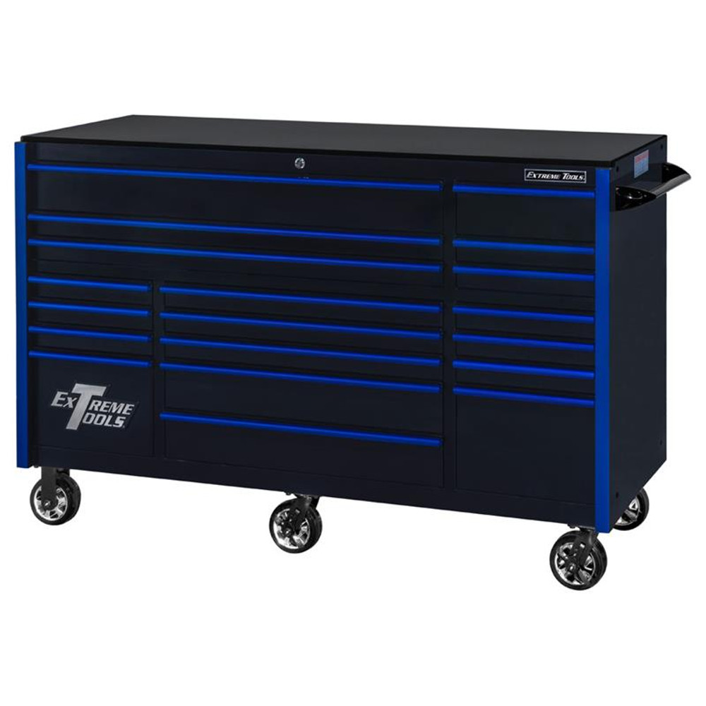 """Extreme Tools 72"""" RX Series 19-Drawer 30"""" Deep Roller Cabinet - Black w/Blue Drawer Pulls"""
