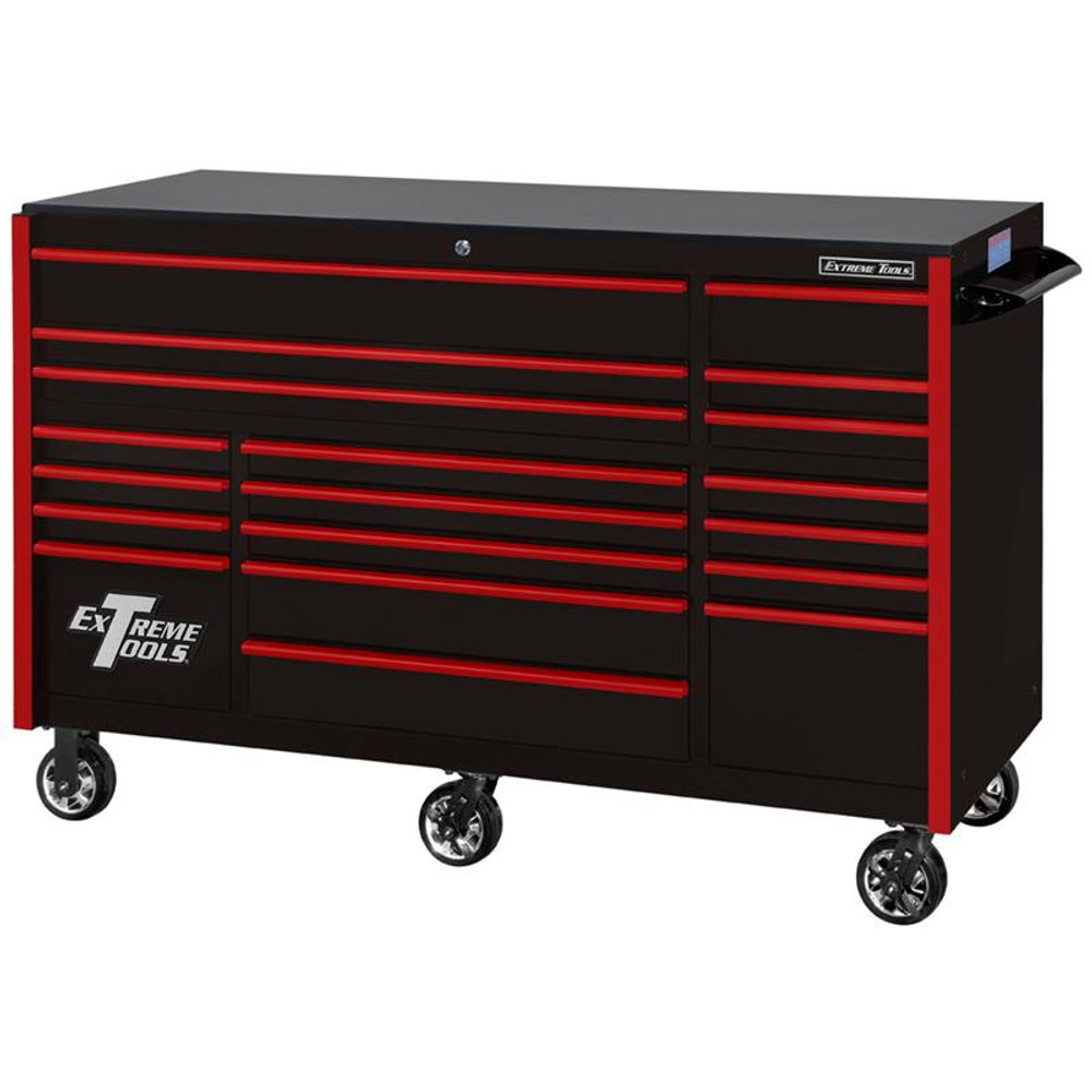 """Extreme Tools 72"""" RX Series 19-Drawer 30"""" Deep Roller Cabinet - Black w/Red Drawer Pulls"""