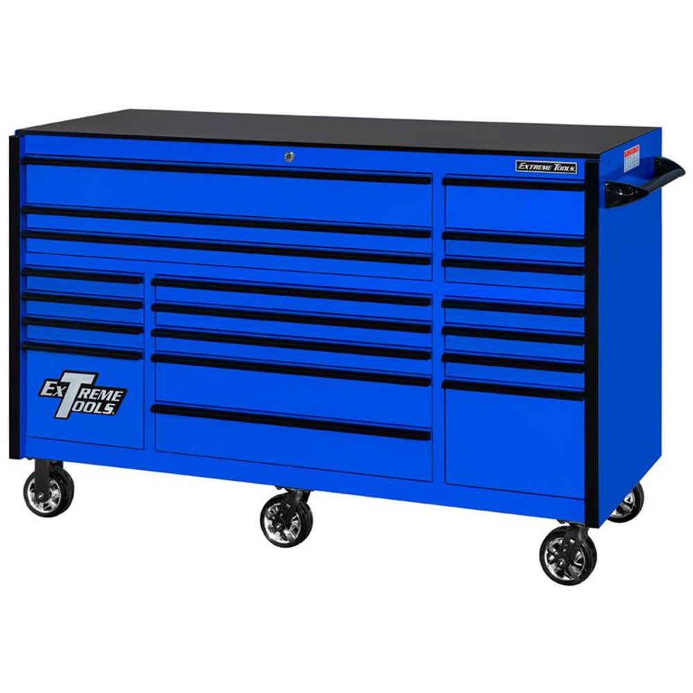 """Extreme Tools 72"""" RX Series 19-Drawer 30"""" Deep Roller Cabinet - Blue w/Black Drawer Pulls"""