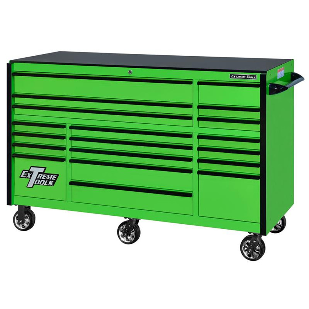"Extreme Tools 72"" RX Series 19-Drawer 30"" Deep Roller Cabinet - Green w/Black Drawer Pulls"
