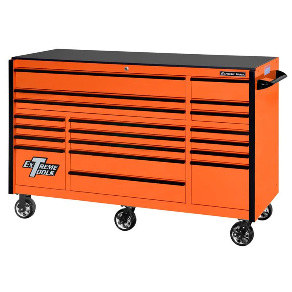 "Extreme Tools 72"" RX Series 19-Drawer 30"" Deep Roller Cabinet - Orange w/Black Drawer Pulls"