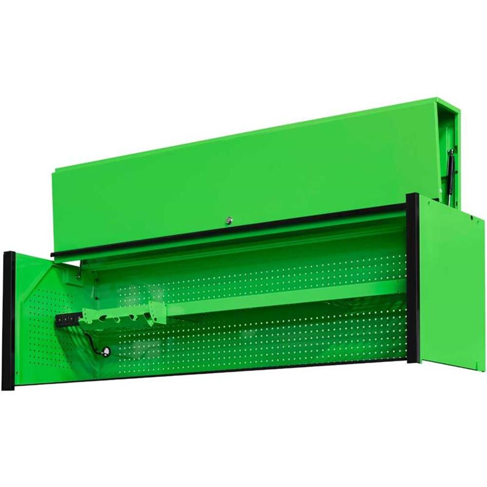 "Extreme Tools DX Series 72"" x 21"" Deep Triple Bank Hutch - Green w/Black Drawer Pulls"