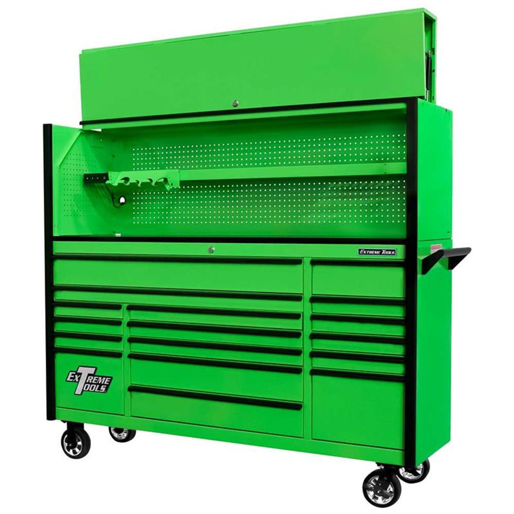 """Extreme Tools 72"""" DX Series 17-Drawer 21"""" Deep Roller Cabinet w/Hutch - Green w/Black Drawer Pulls"""
