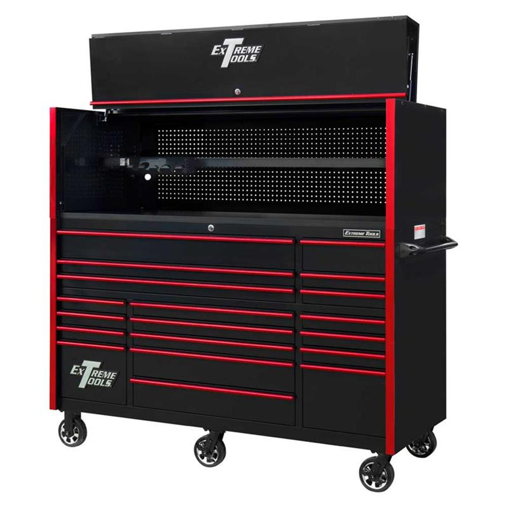 "Extreme Tools 72"" RX Series 19-Drawer 30"" Deep Roller Cabinet w/Hutch - Black w/Red Drawer Pulls"