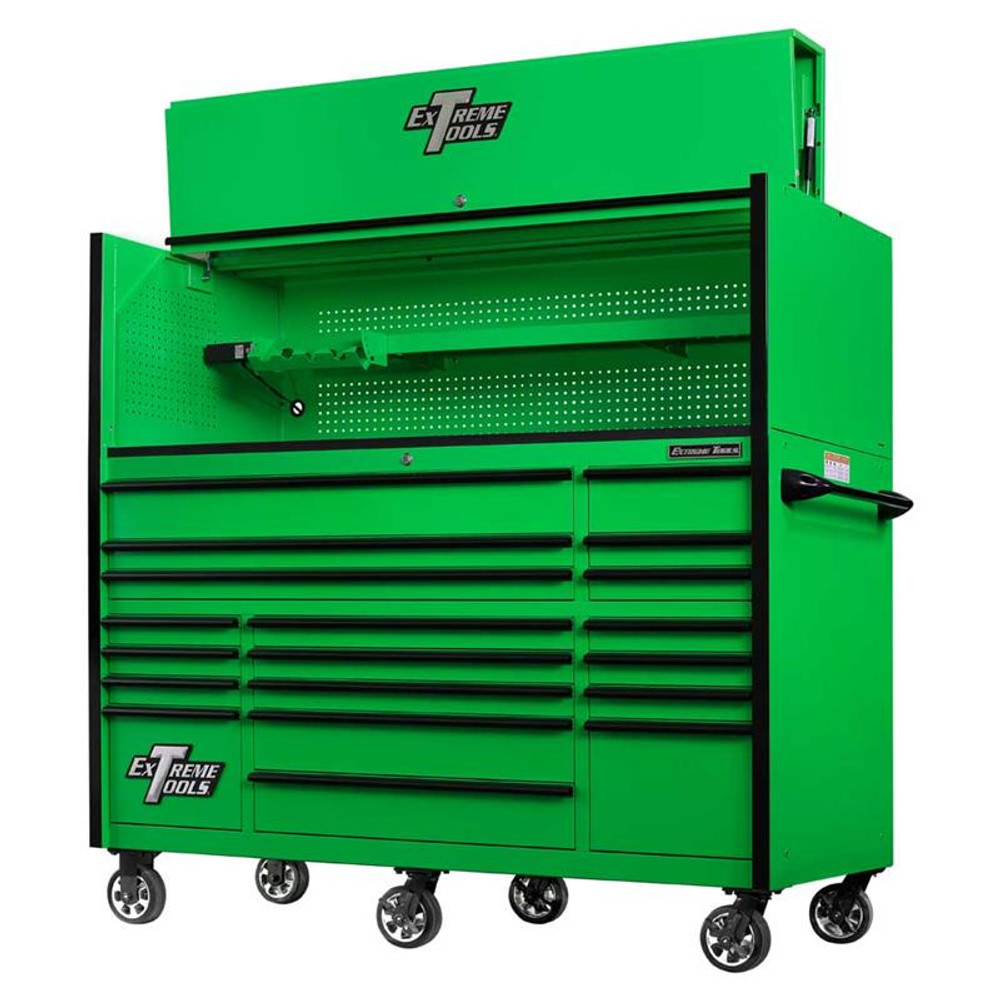 """Extreme Tools 72"""" RX Series 19-Drawer 30"""" Deep Roller Cabinet w/Hutch - Green w/Black Drawer Pulls"""