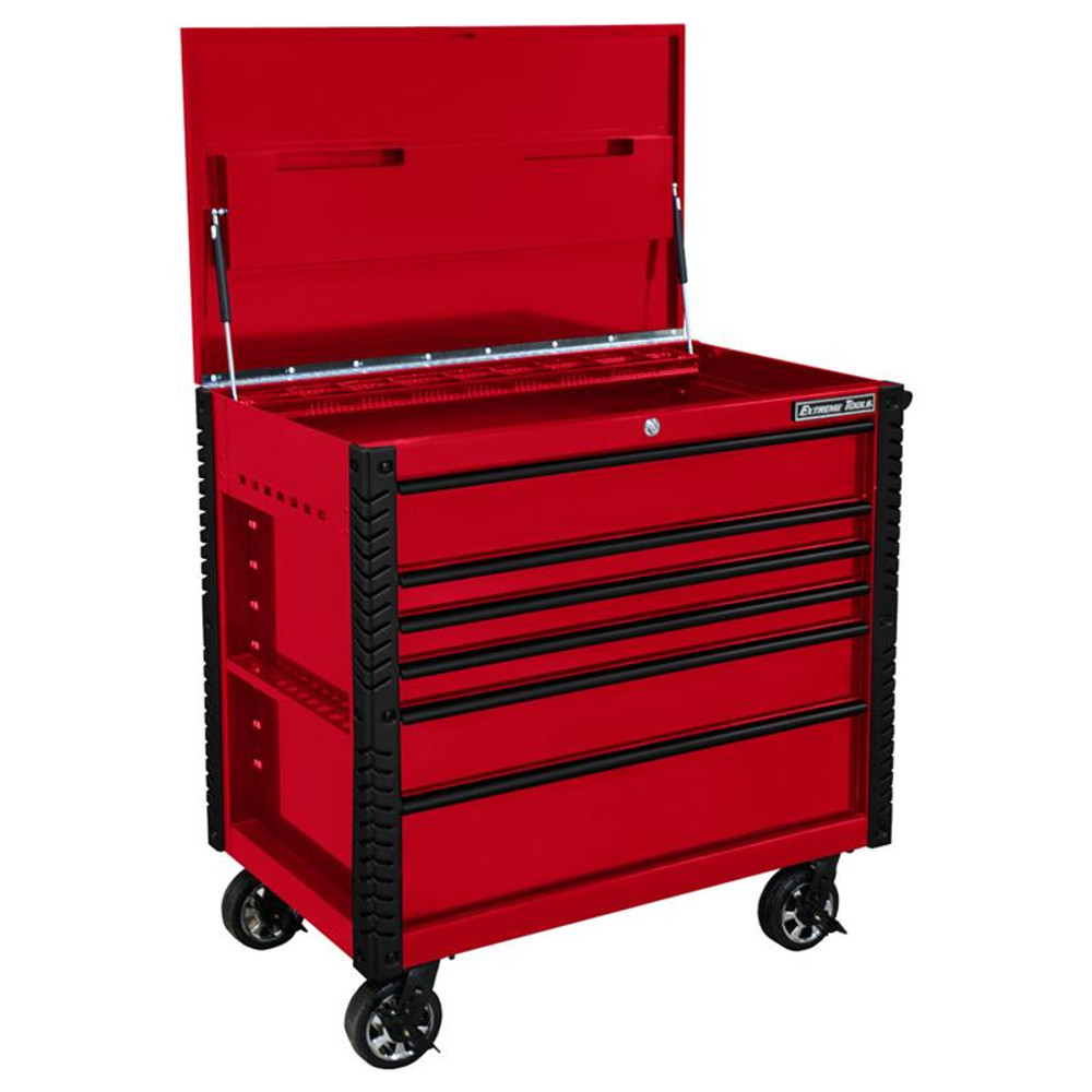 """Extreme Tools EX Series 41"""" 6 Drawer Tool Cart with Bumpers - Red w/Black Drawer Pulls"""