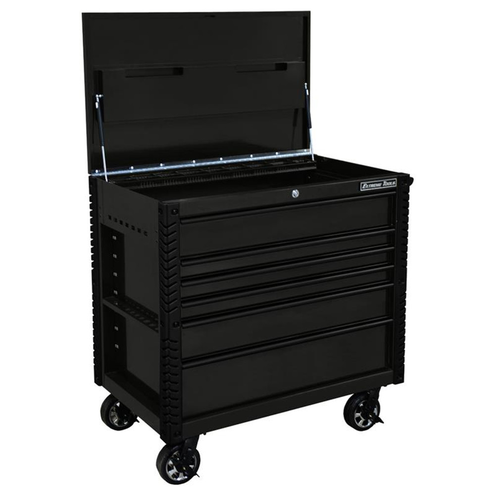 """Extreme Tools EX Series 41"""" 6 Drawer Tool Cart with Bumpers - Matte Black w/Black Drawer Pulls"""