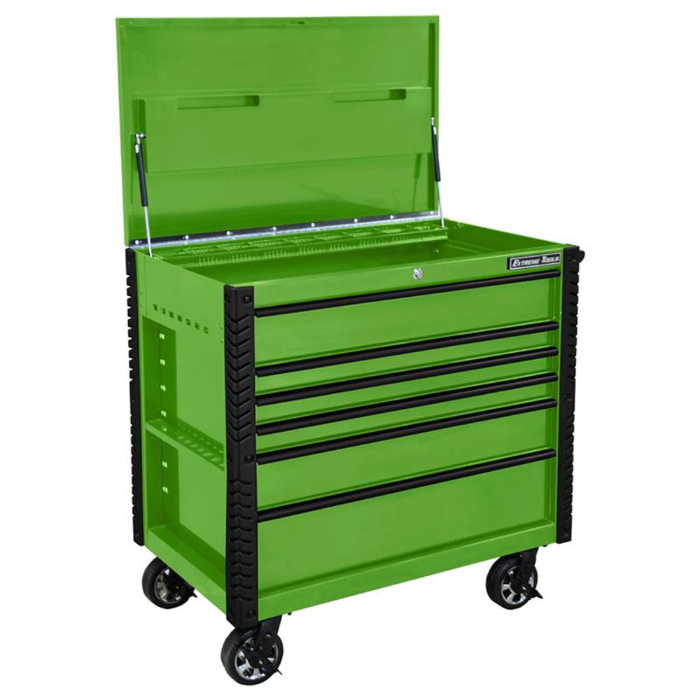 """Extreme Tools EX Series 41"""" 6 Drawer Tool Cart with Bumpers - Green w/Black Drawer Pulls"""
