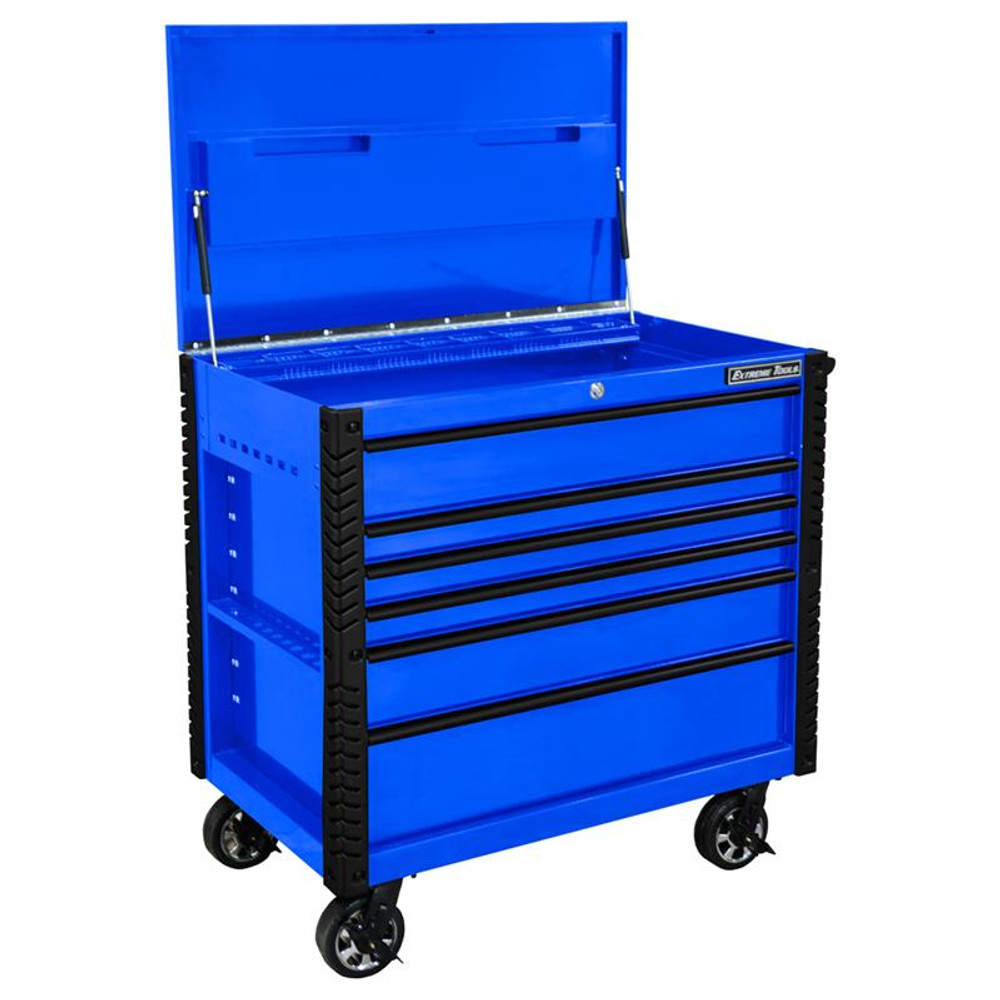 """Extreme Tools EX Series 41"""" 6 Drawer Tool Cart with Bumpers - Blue w/Black Drawer Pulls"""