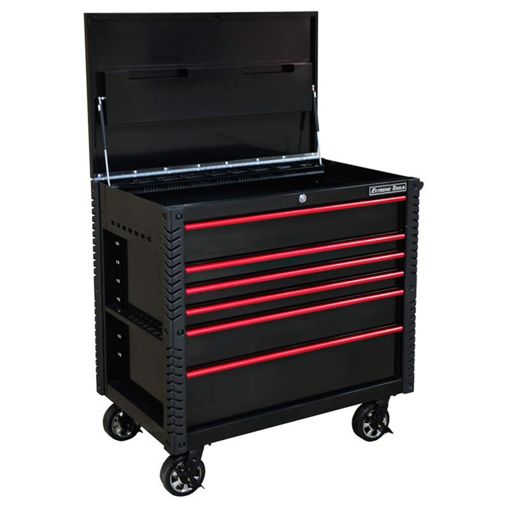 """Extreme Tools EX Series 41"""" 6 Drawer Tool Cart with Bumpers - Black w/Red Drawer Pulls"""