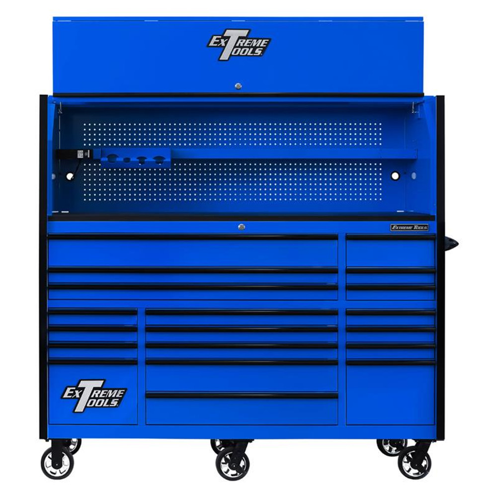 "Extreme Tools 72"" RX Series 19-Drawer 30"" Deep Roller Cabinet w/Hutch - Blue w/Black Drawer Pulls"