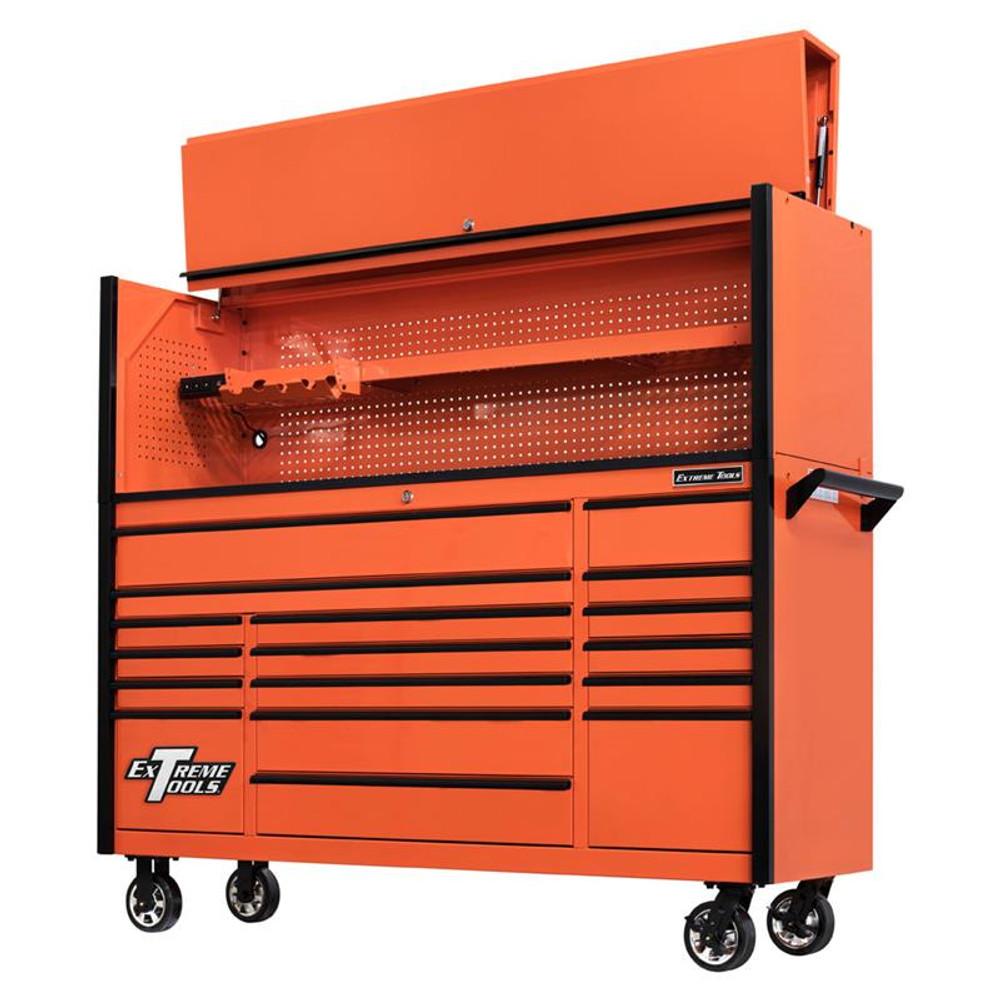 "Extreme Tools 72"" DX Series 17-Drawer 21"" Deep Roller Cabinet w/Hutch - Orange w/Black Drawer Pulls"