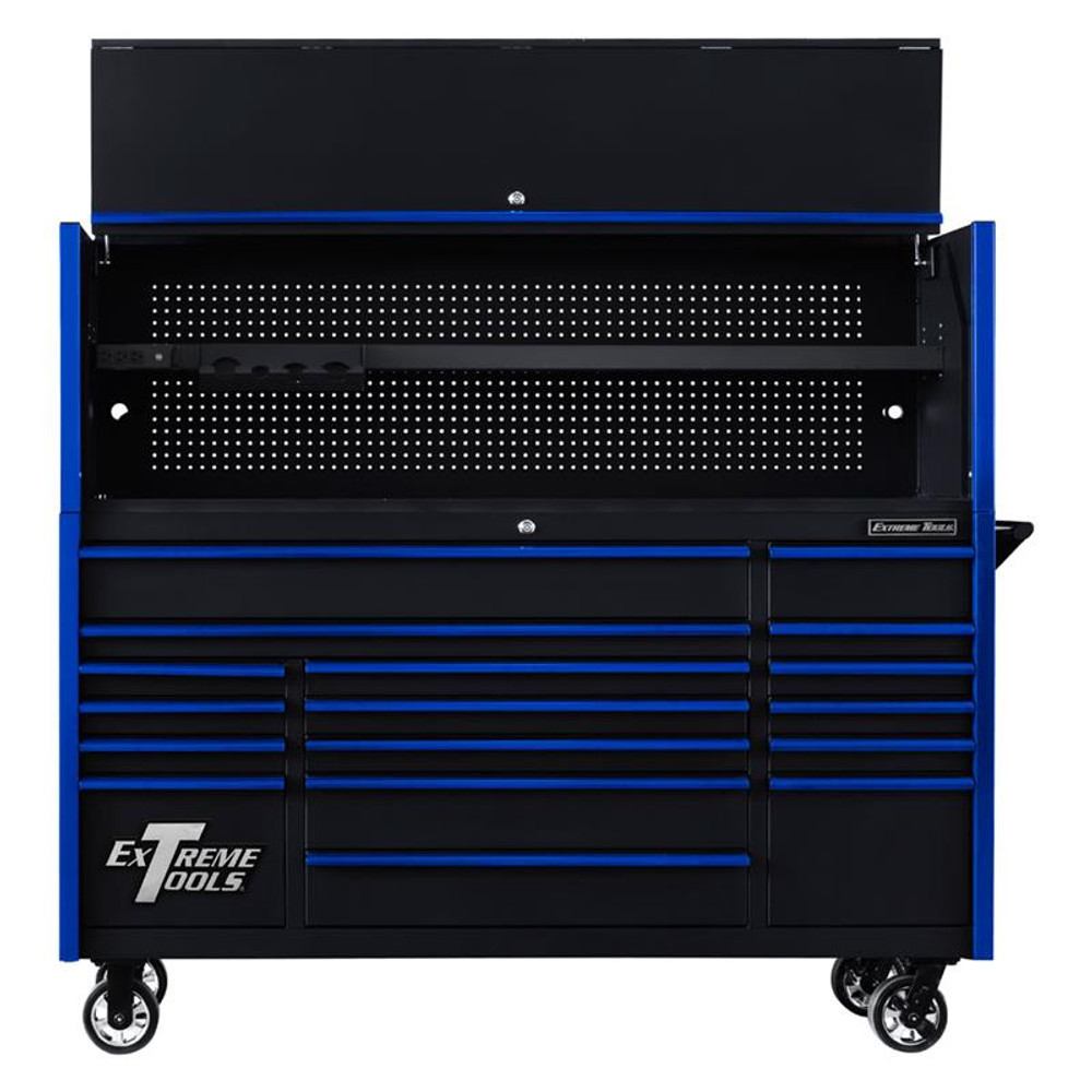 """Extreme Tools 72"""" DX Series 17-Drawer 21"""" Deep Roller Cabinet w/Hutch - Black w/Blue Drawer Pulls"""