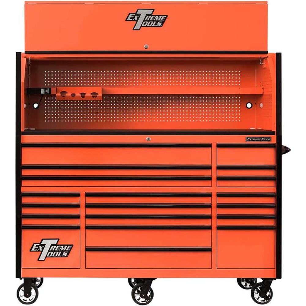 "Extreme Tools 72"" RX Series 19-Drawer 30"" Deep Roller Cabinet w/Hutch - Orange w/Black Drawer Pulls"
