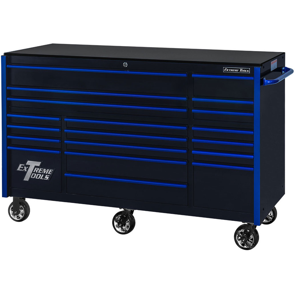 "Extreme Tools 72"" RX Series 19-Drawer 25"" Deep Roller Cabinet, 150 lb Slides - Black w/Blue Handles"
