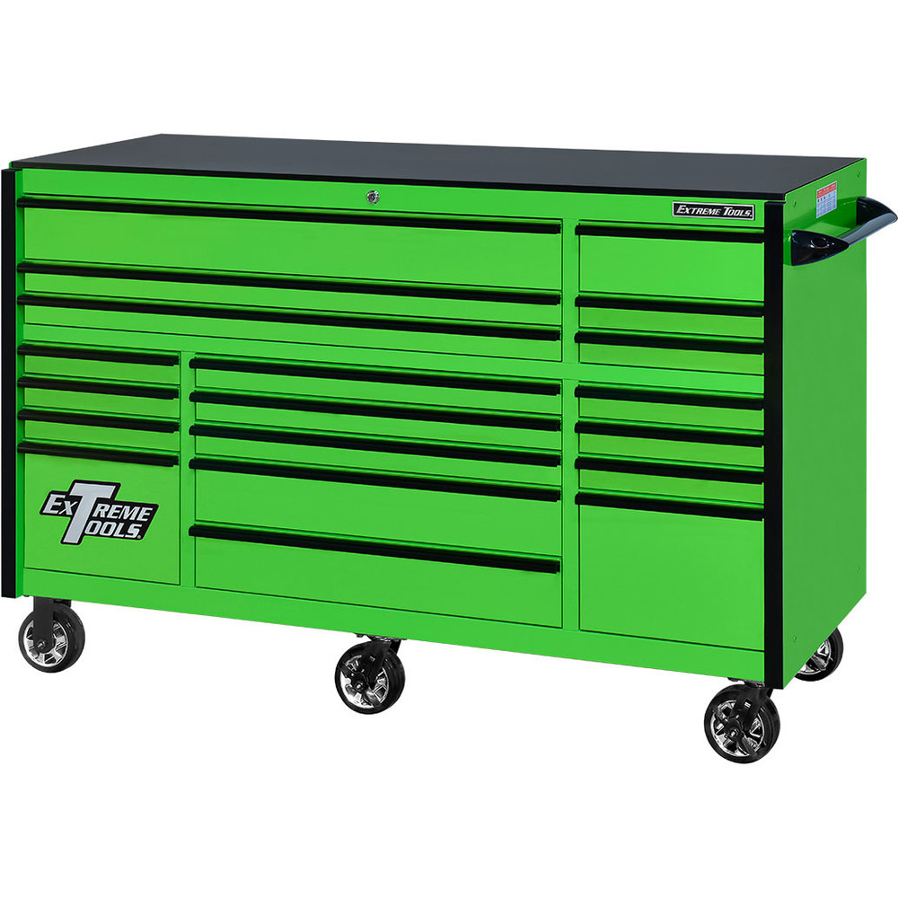 "Extreme Tools 72"" RX Series 19-Drawer 25"" Deep Roller Cabinet, 150 lb Slides - Green w/Black Handles"
