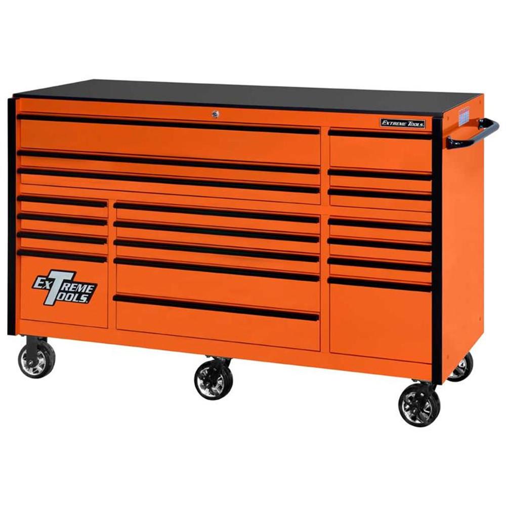 "Extreme Tools 72"" RX Series 19-Drawer 25"" Deep Roller Cabinet, 150 lb Slides - Orange w/Black Handles"