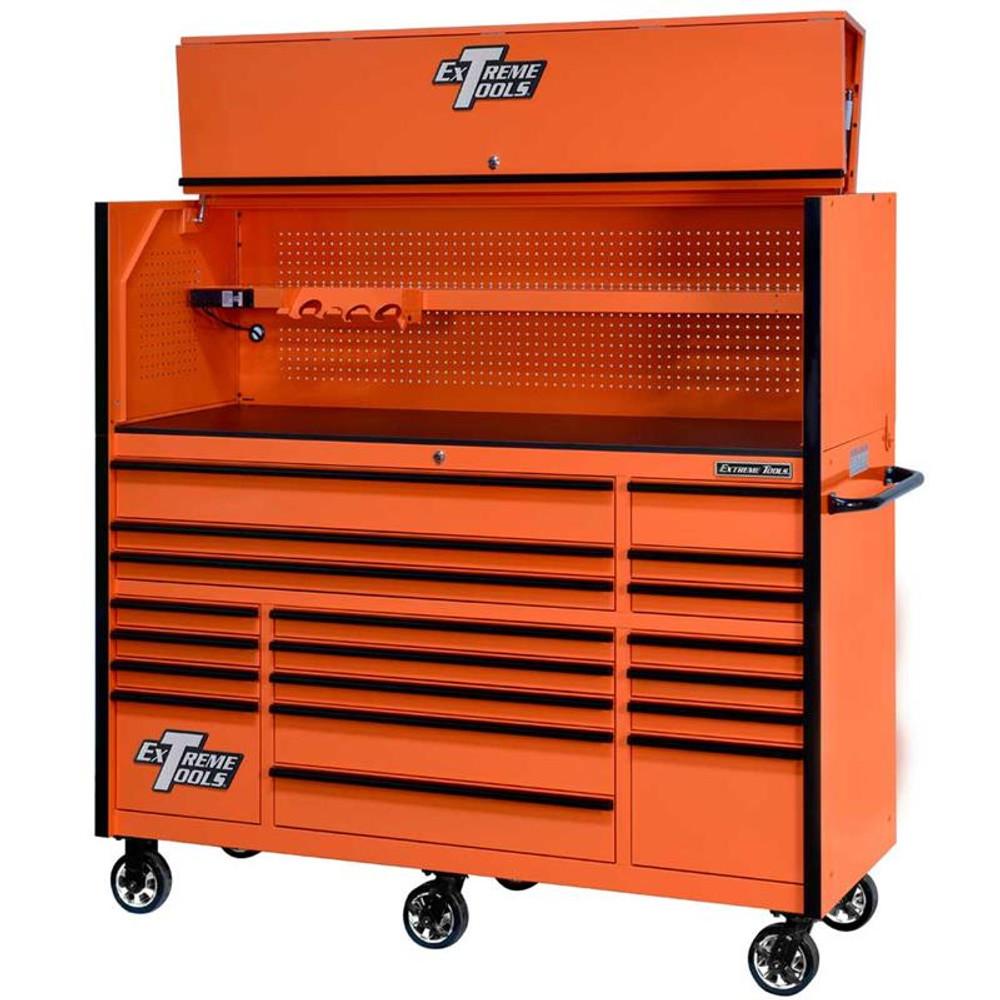 "Extreme Tools 72"" RX Series 19-Drawer 25"" Deep Roller Cabinet w/Hutch, 150 lb Slides - Orange w/Black Handles"