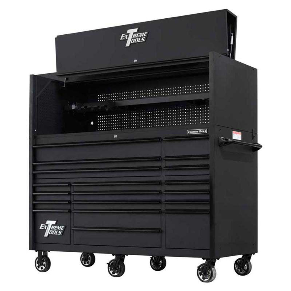 "Extreme Tools 72"" RX Series 19-Drawer 25"" Deep Roller Cabinet w/Hutch, 150 lb Slides - Matte Black w/Black Handles"