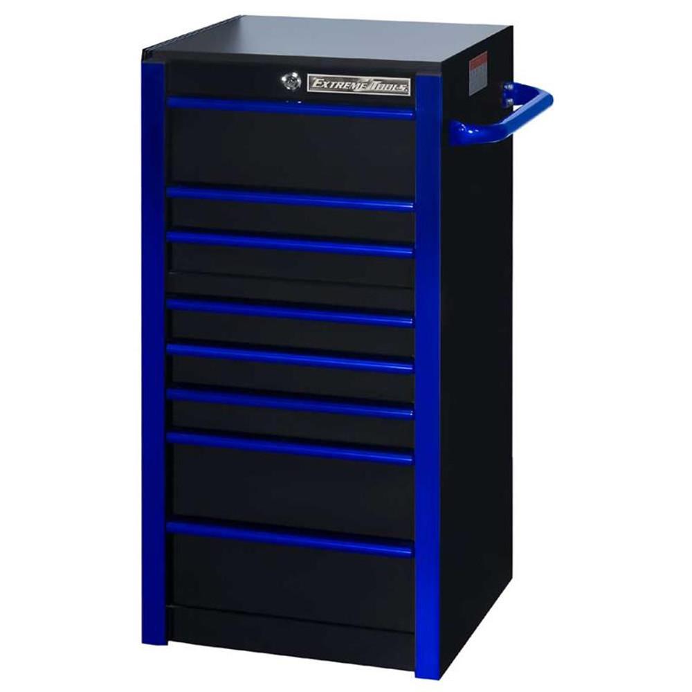 """Extreme Tools RX 19"""" x 25"""" Deep 7-Drawer Side Box - Black w/Blue Trim"""