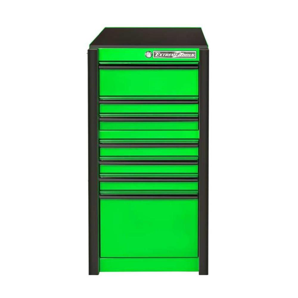 """Extreme Tools RX 19"""" x 25"""" Deep 7-Drawer Side Box - Green w/Black Trim"""