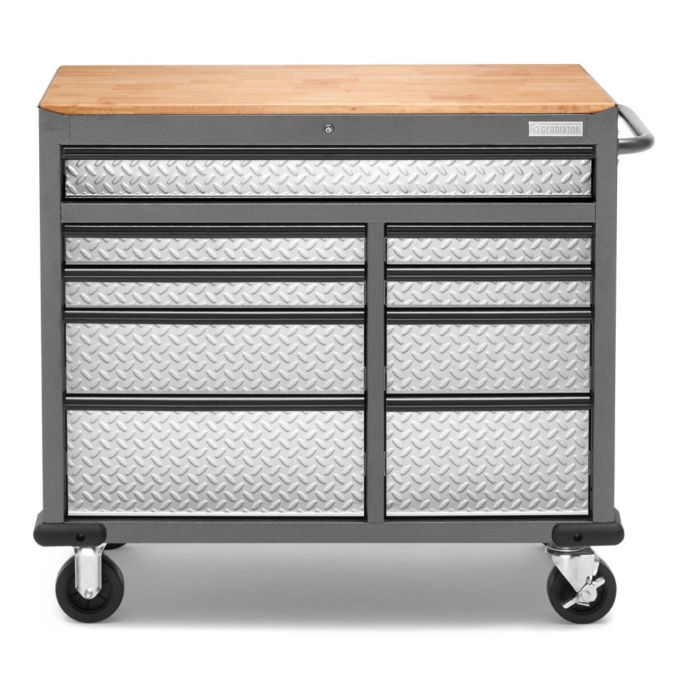 "Gladiator 41"" 9 Drawer Mobile Tool Workbench with Solid Wood Top"