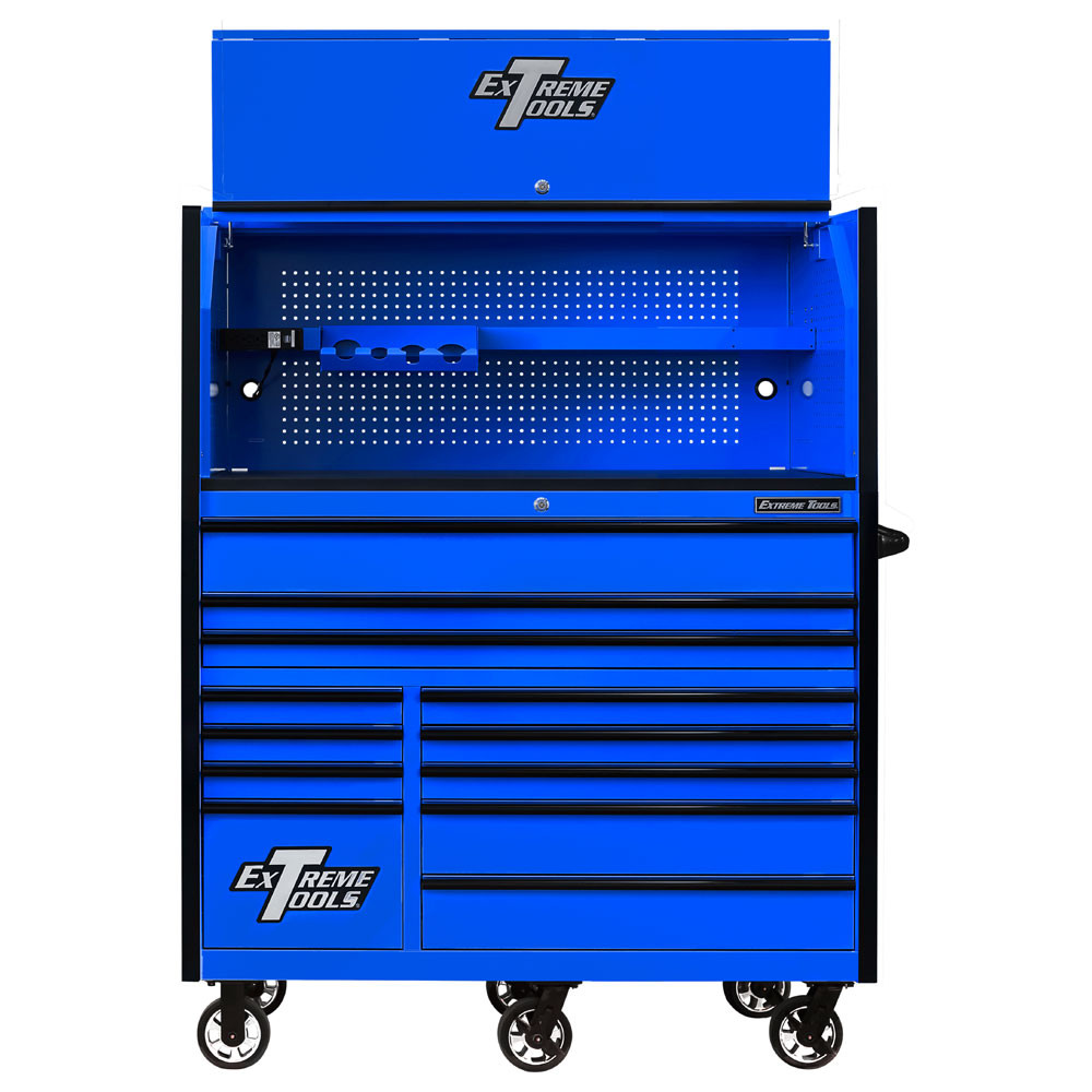 "Extreme Tools RX Series 55"" 12-Drawer Roller with Hutch - Blue w/Black Drawer Pulls"