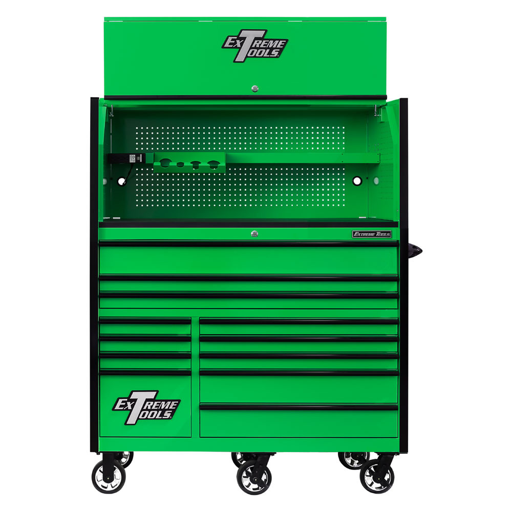 """Extreme Tools RX Series 55"""" 12-Drawer Roller with Hutch - Green w/Black Drawer Pulls"""