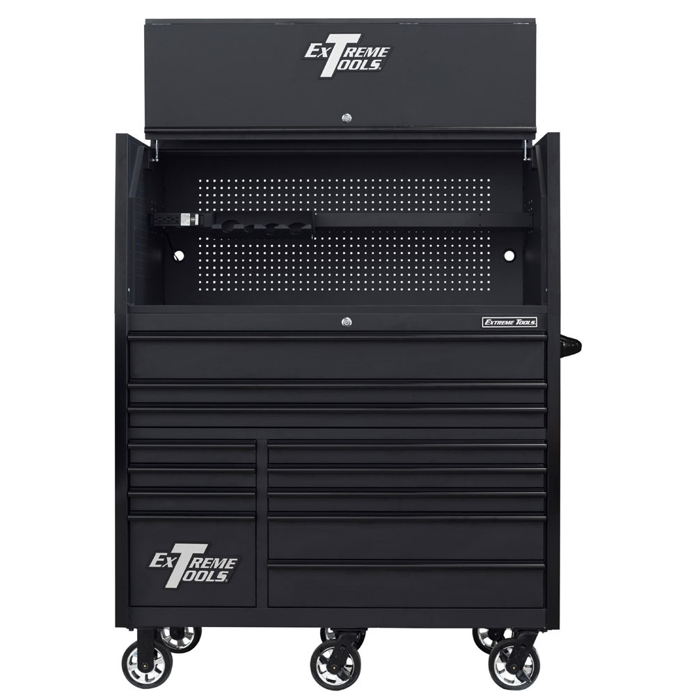 """Extreme Tools RX Series 55"""" 12-Drawer Roller with Hutch - Matte Black w/Black Drawer Pulls"""